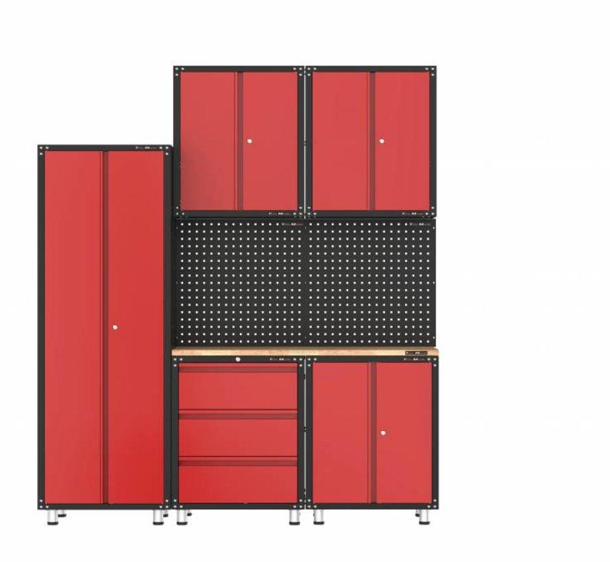 Complete garage inrichting met werkbank en gereedschapskasten 8 delig