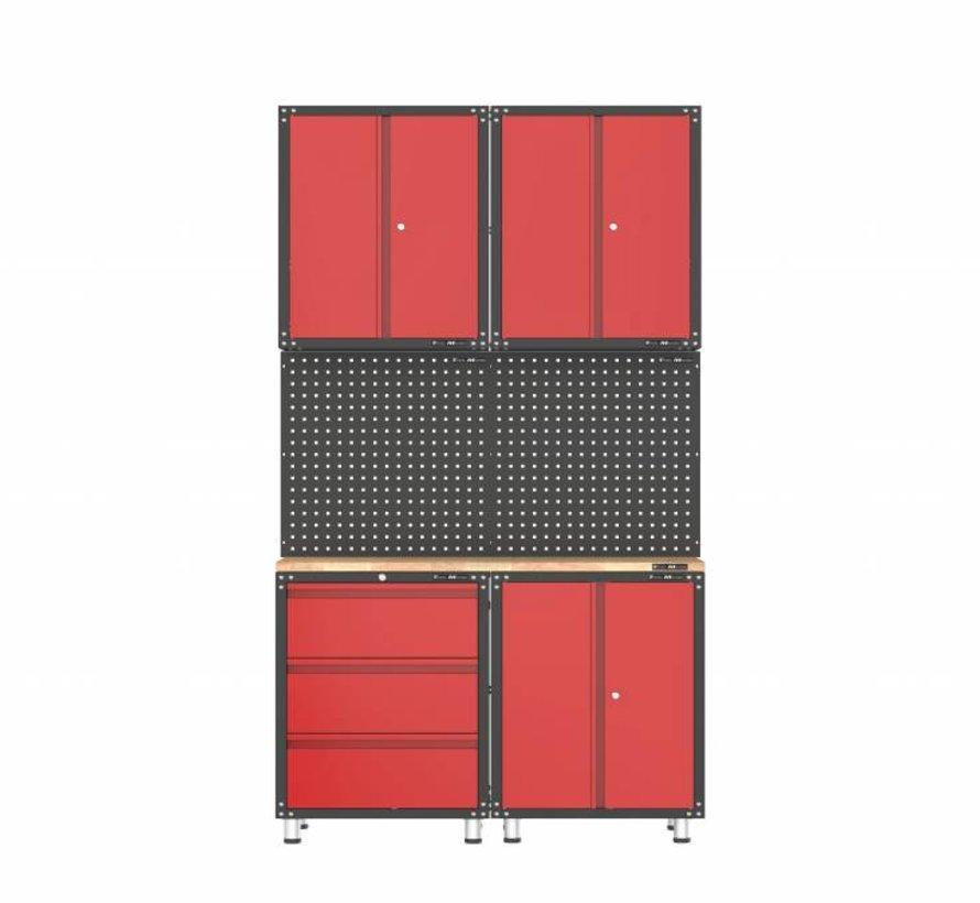 Complete garage inrichting met werkbank en gereedschapskasten 7 delig