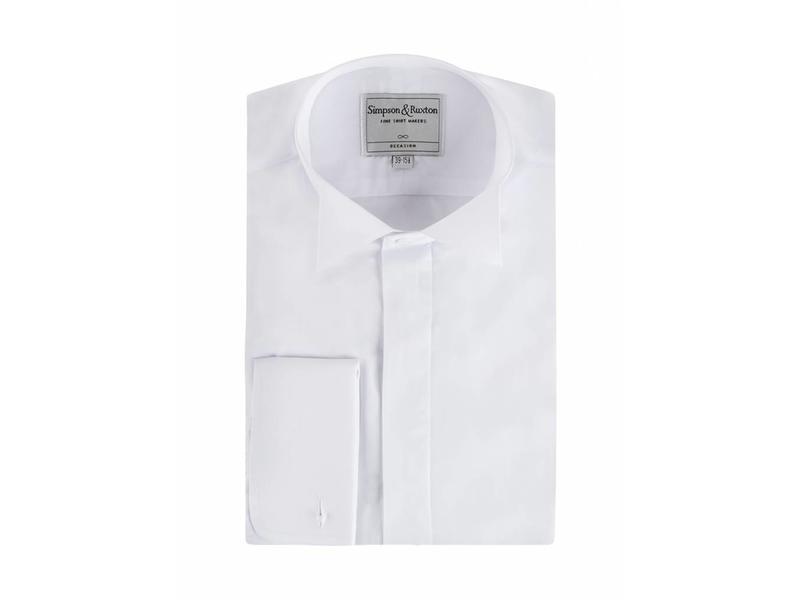 Simpson & Ruxton Smokingshirt wing collar blind button