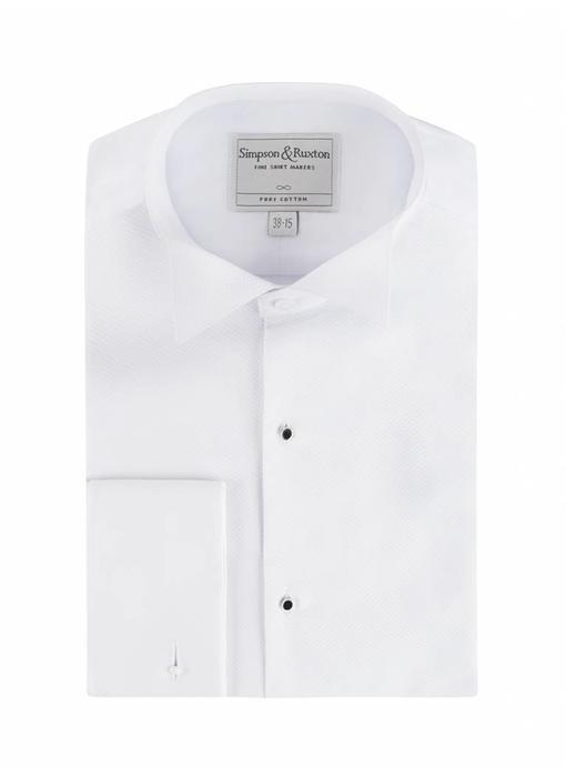 Simpson & Ruxton Smokingshirt pique met studs wing collar