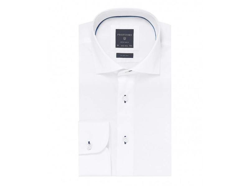 Profuomo Wit fijn twill shirt