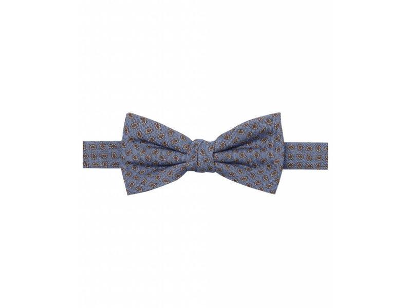 Profuomo Blauwe zijden katoenen bowtie