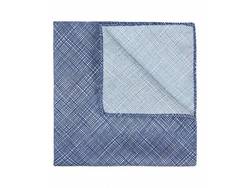 Profuomo Donkerblauw zijden pochet met print