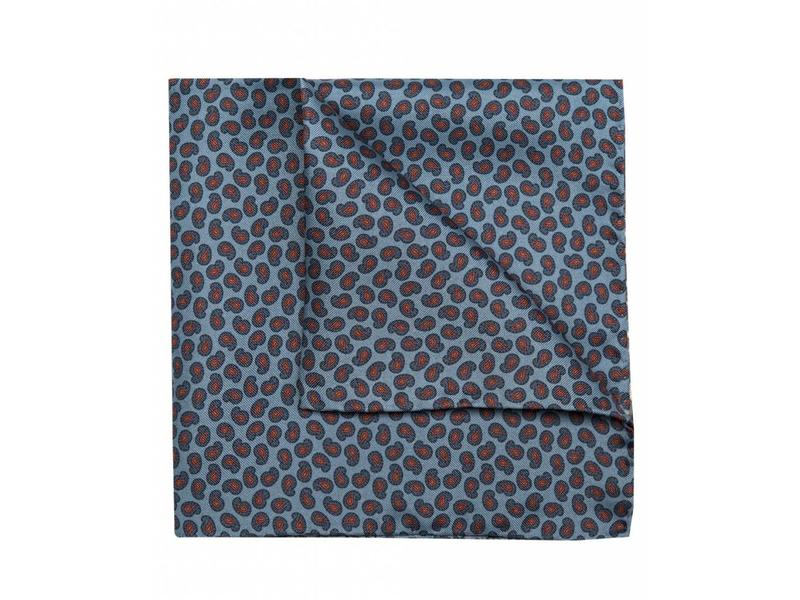 Profuomo Blauw paisley bedrukt pochet zijde
