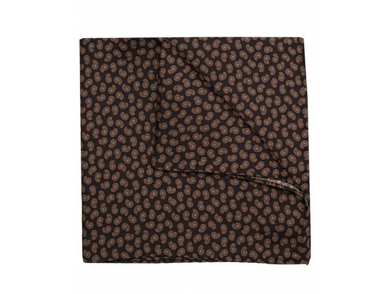 Profuomo Zwart paisley bedrukt pochet zijde