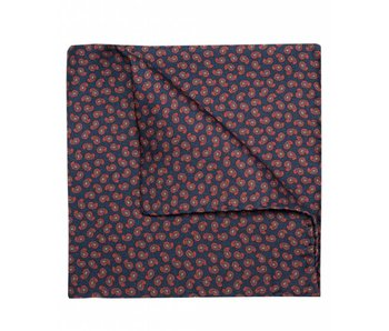Profuomo Navy paisley geprint pochet zijde