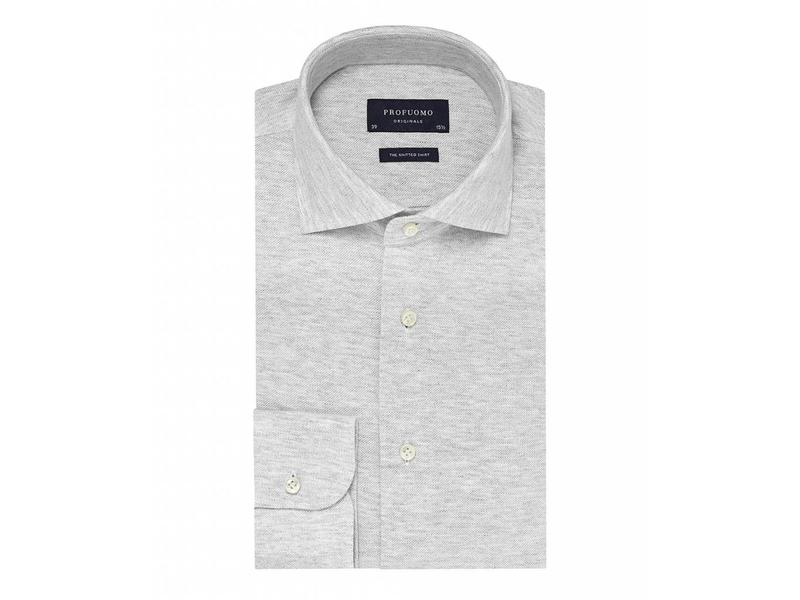 Profuomo Grey mélange knitted shirt