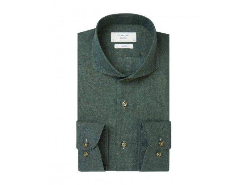 Profuomo Groen linnen overhemd