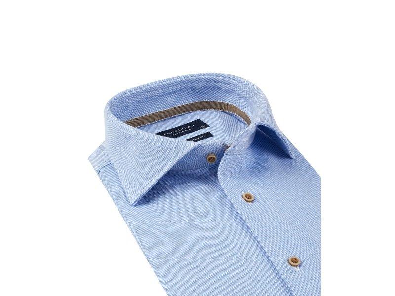 Profuomo Licht blauw slimfit cutaway knitted shirt