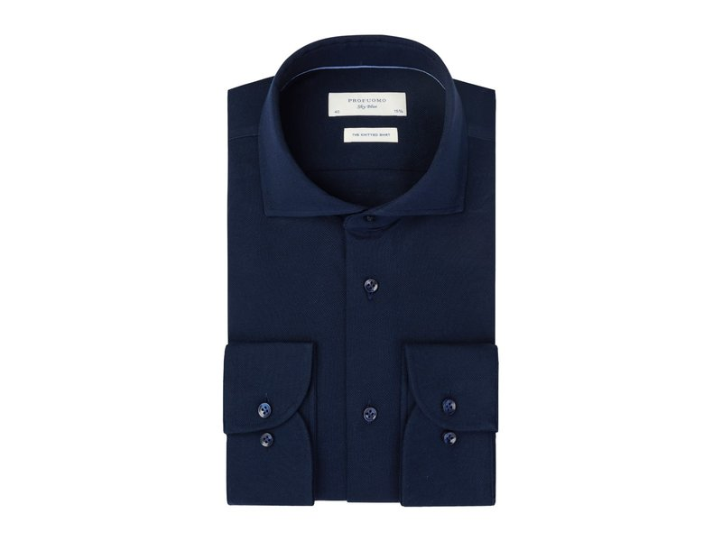 Profuomo Navy Sky Blue knitted shirt