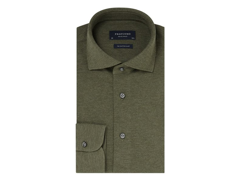 Profuomo Army mélange knitted shirt