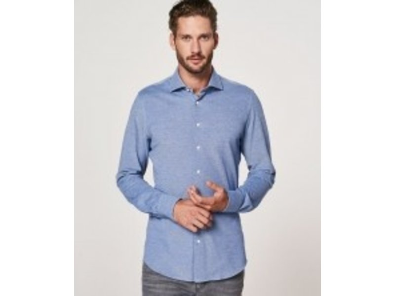 Profuomo Blue mélange knitted shirt