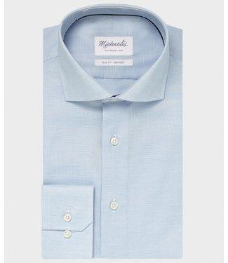 Michaelis Blauw shirt basket weave