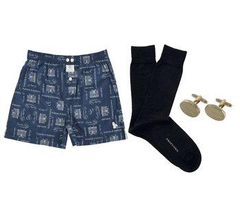 Boxer, sokken en manchetknoop