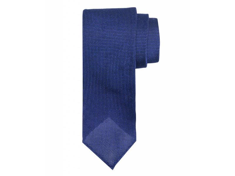 Profuomo Mid-blue open-weave 3-fold zijden das