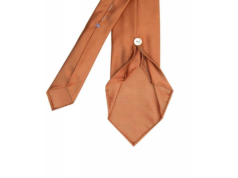 Profuomo Orange imperial oxford 7-fold zijden das