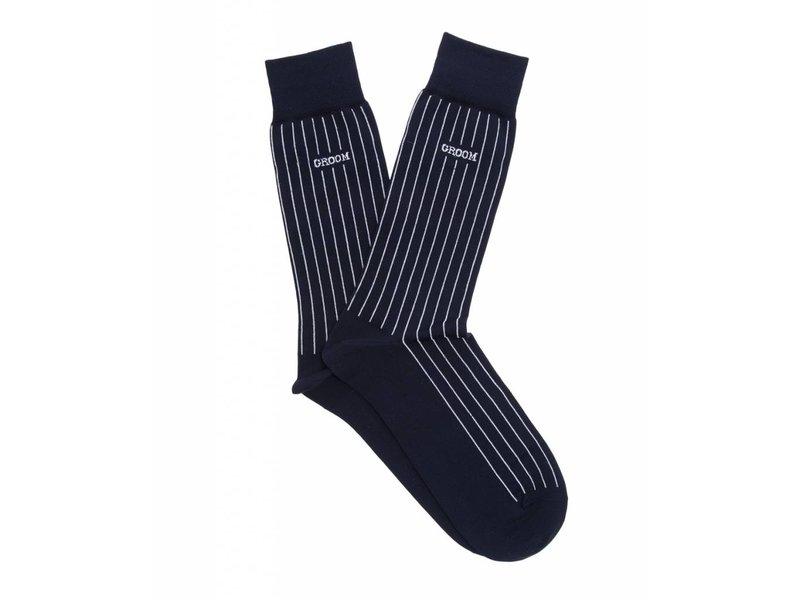 Profuomo Groom Navy gemerceriseerde sokken