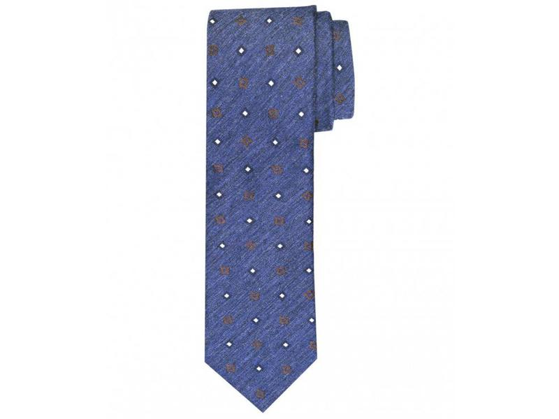 Profuomo Navy woven silk-cotton tie