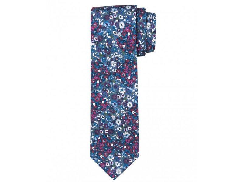 Profuomo Navy twill printed silk tie
