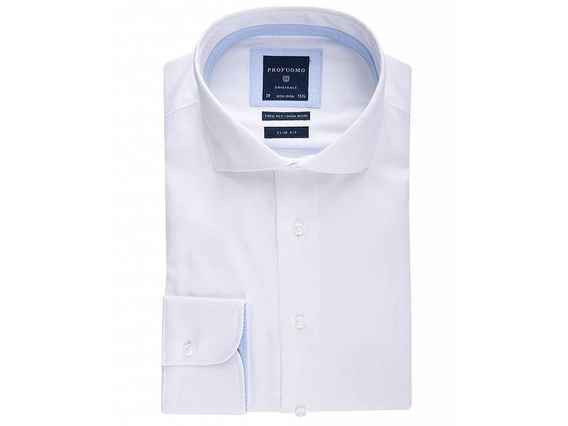 Profuomo Shirt White two ply twill cotton non iron slim fit