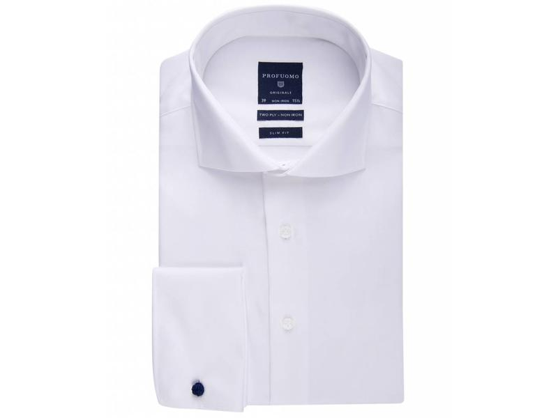 Profuomo Originale white non iron two ply twill cotton