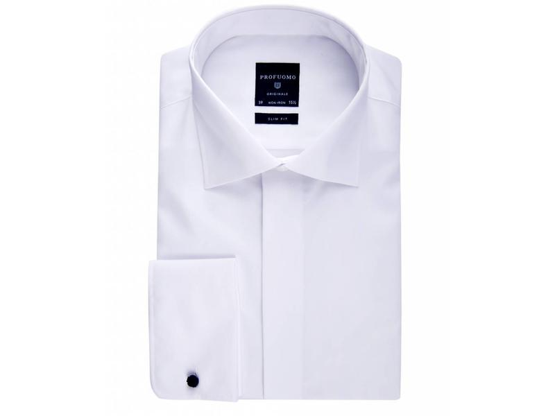 Profuomo Originale white smoking shirt widespread blind button