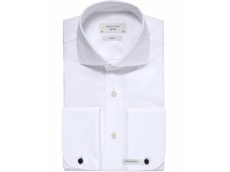 Profuomo Sky blue white slim fit extra long sleeve dubbel manchet