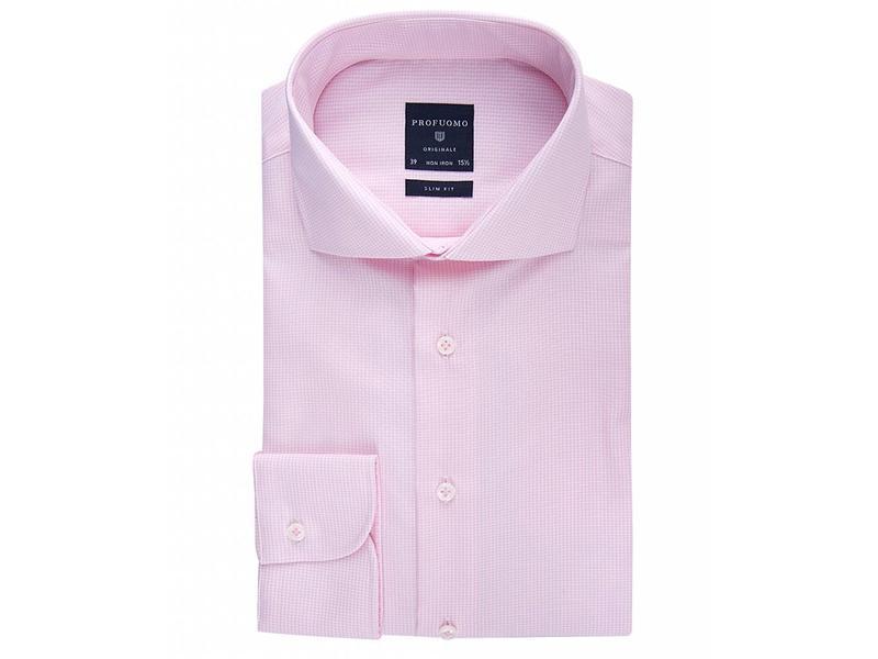 Profuomo Originale pink stripe check cutaway collar
