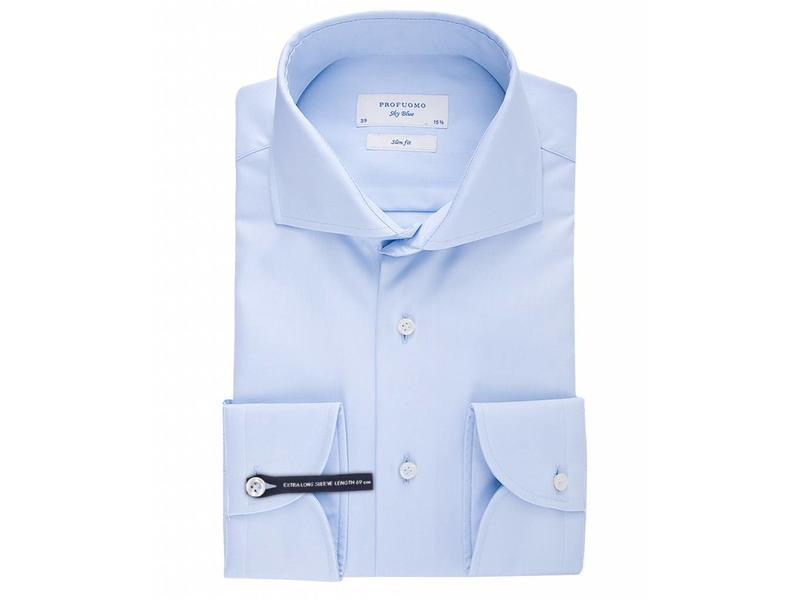 Profuomo Sky blue slim fit extra long sleeve white shirt cutaway collar