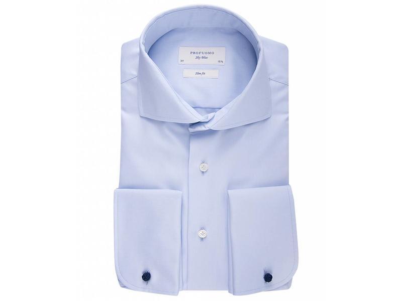 Profuomo Sky blue slim fit blue shirt double cuff