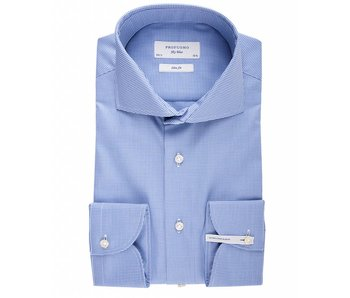 Profuomo Sky blue pied de poule extra long sleeve blue shirt