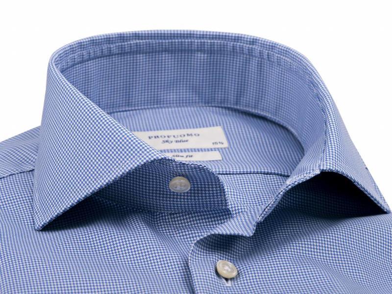 Profuomo Sky blue pied de poule twill blue shirt