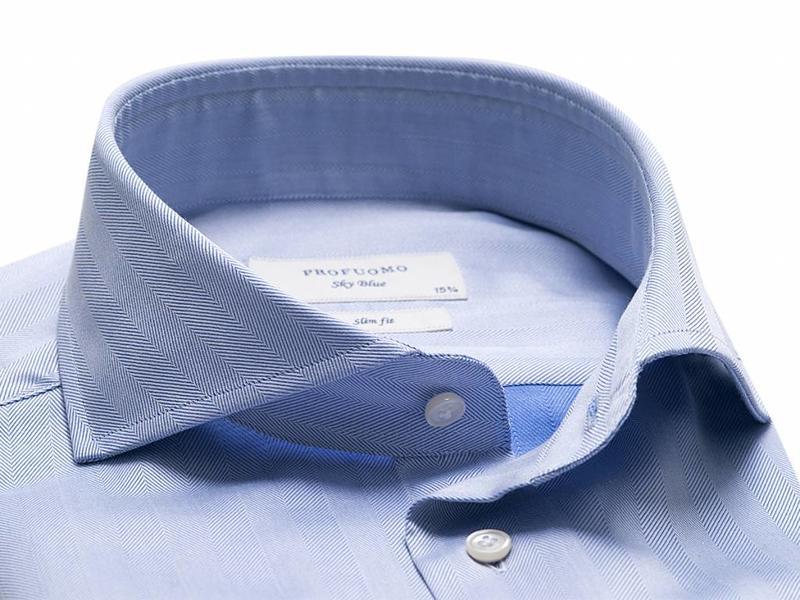 Profuomo Sky blue herringbone blue shirt cutaway collar