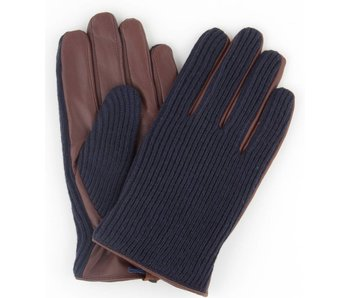 Profuomo Glove Navy knitted and cognac leather