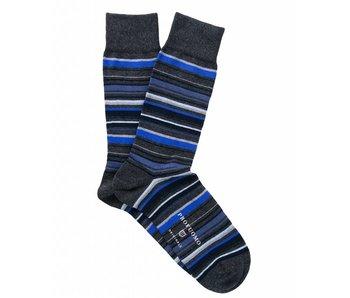 Profuomo Tonal blue striped cotton socks