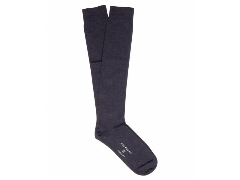Profuomo Navy wool-silk knee socks