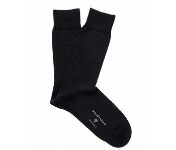 Profuomo Black solid cotton-wool socks