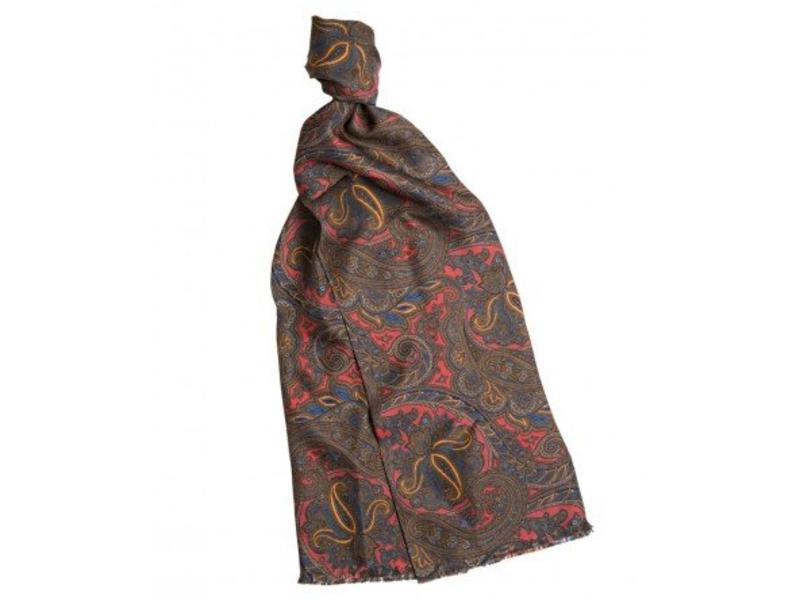 Profuomo Scarf Silk Twill Print Red