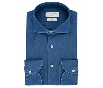 Profuomo Sky blue classic dark indigo cutaway collar
