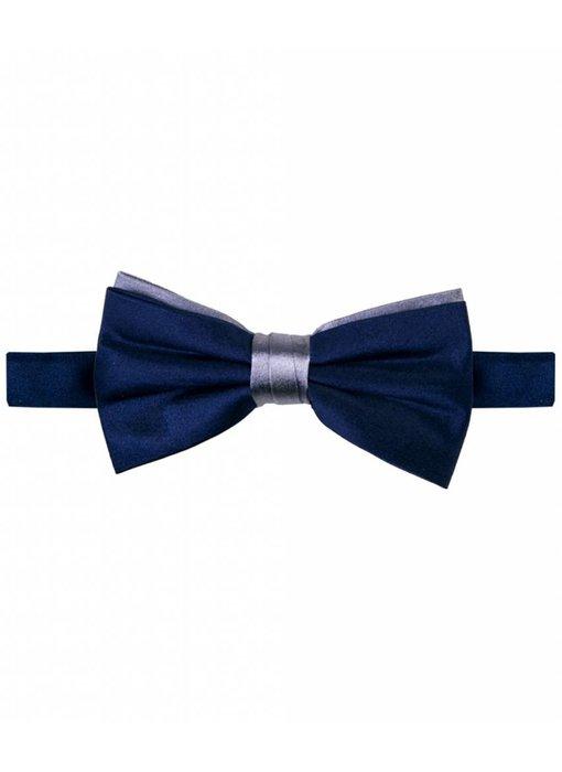Michaelis Bowtie navy/grey two-tone satin silk.