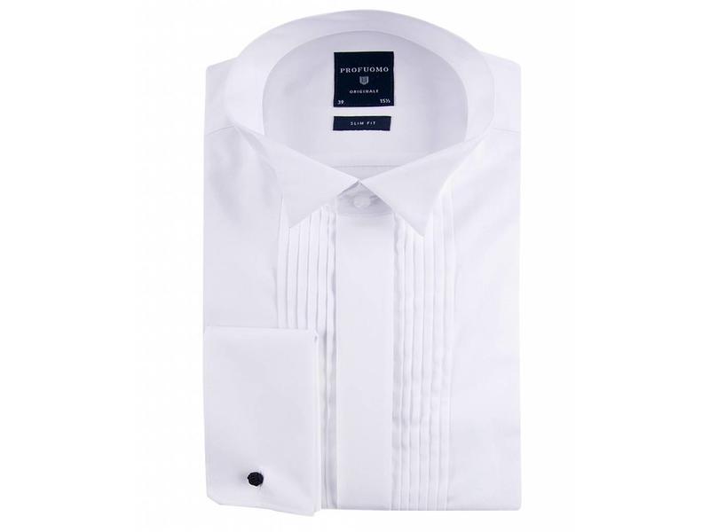 Profuomo Originale smoking shirt plisse wing collar slim fit.