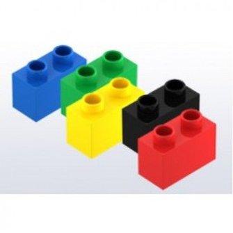 Hubelino Hubelino Bouwstenen kleur mix, 2 noppen, 68 stuks