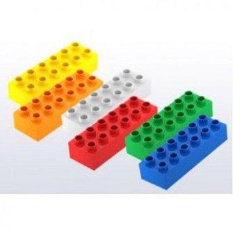Hubelino Hubelino Bouwstenen kleur mix, 12 noppen, 18 stuks