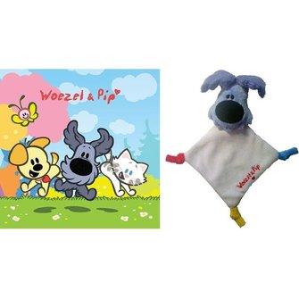 Woezel en Pip Knuffeldoekje mini met kaart - Woezel