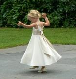 Bruidsmeisjes jurk  Chantal ivoor met champagne band