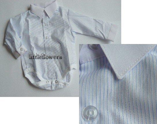 Baby overhemd model romper wit met een lichtblauw streepje