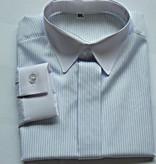 Jongens overhemd wit met lichtblauw streepje