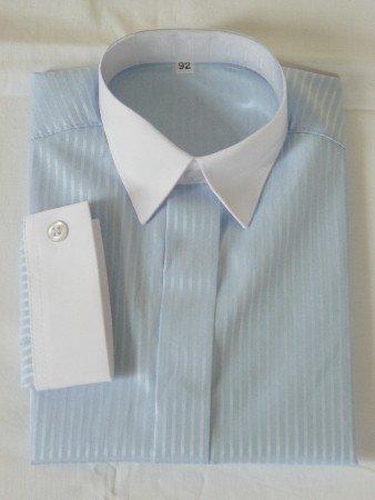 Jongens overhemd lichtblauw met wit boord