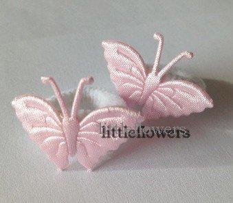 Haarelastiekjes wit met roze vlinder
