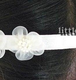 Haarband ivoor met organza bloemtjes